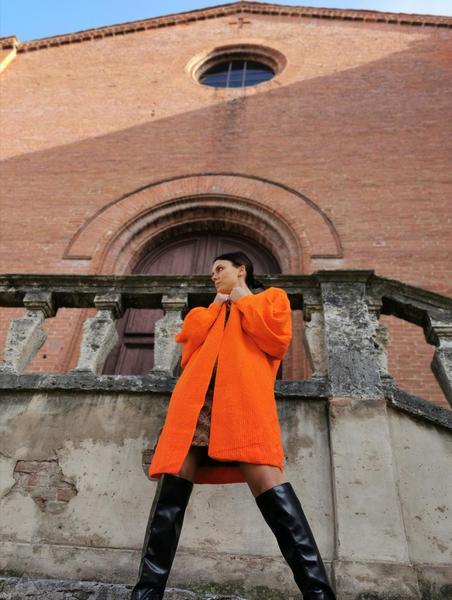 Cardigan Over Arancione