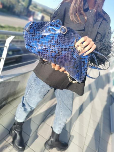 Clutch Pitonato Blu