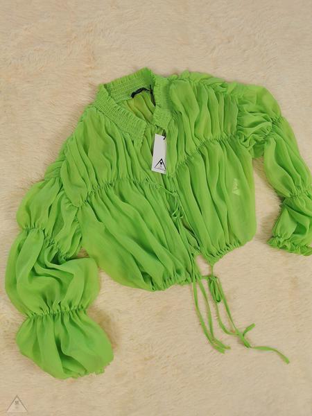 Top Drappeggio Fluo Green