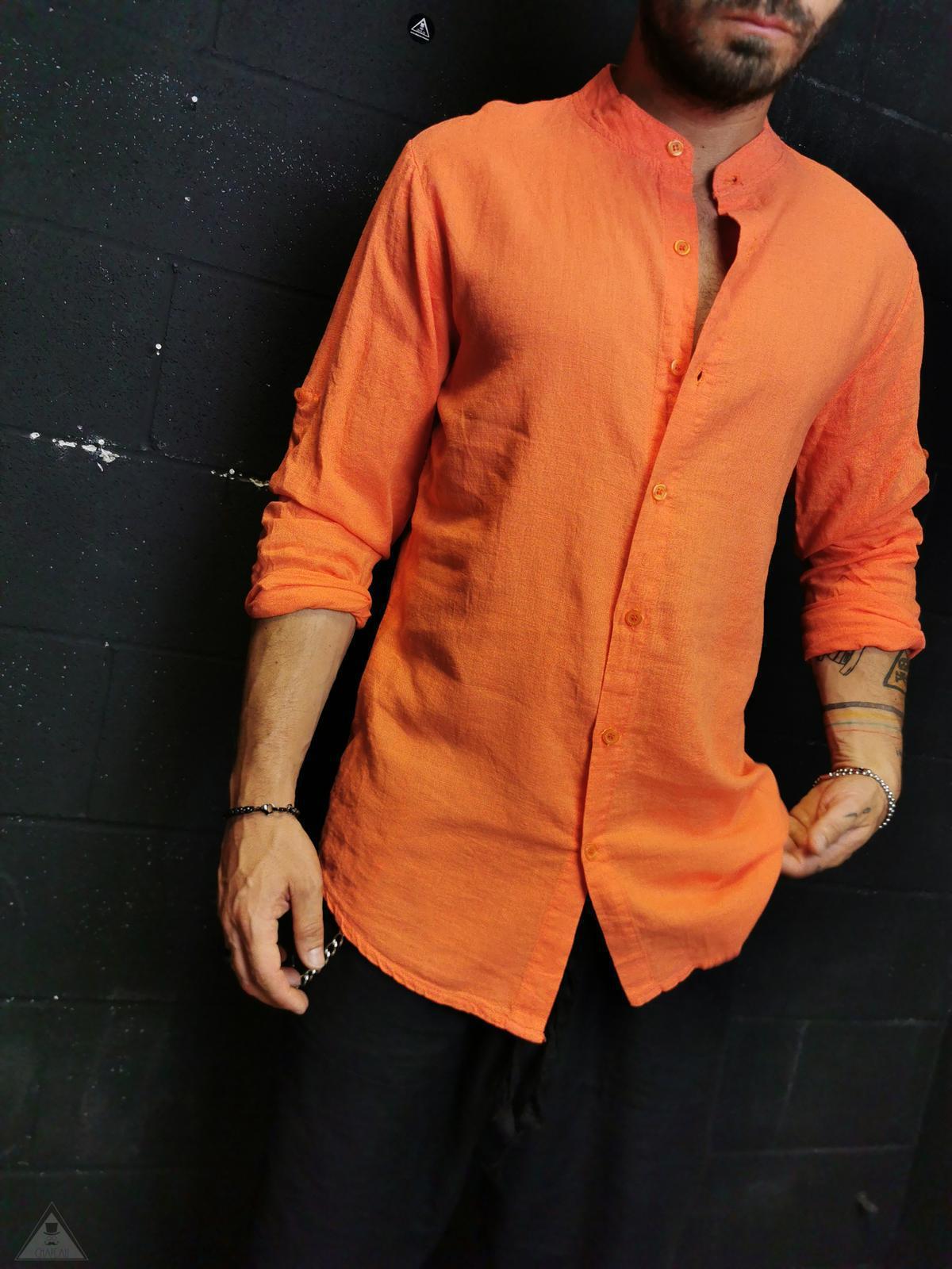 Camicia in Lino Arancio