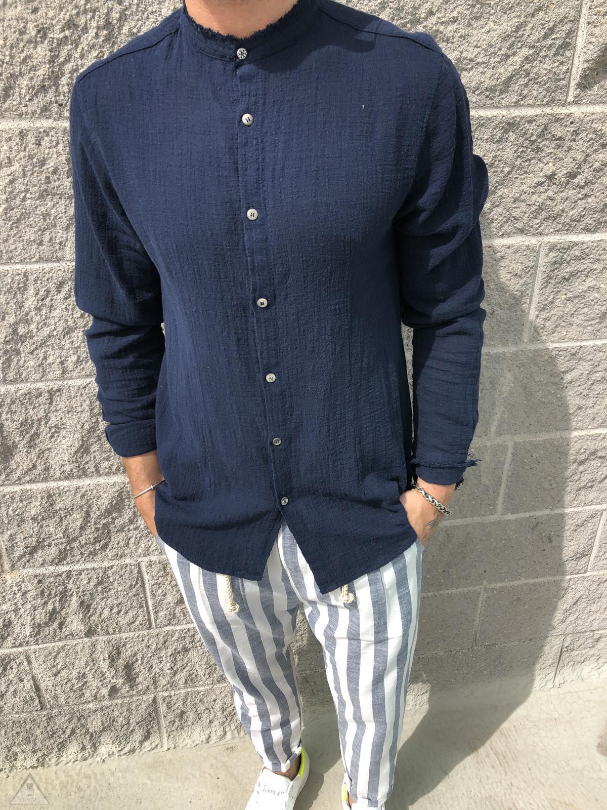 Camicia Sfrangiata Blu