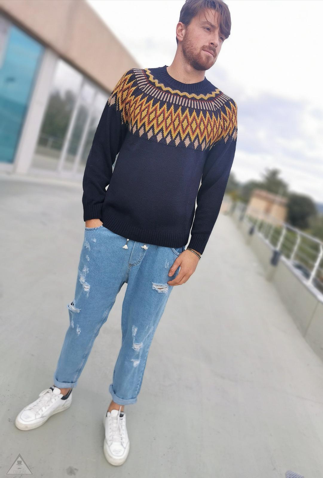 Maglione azteco Blu