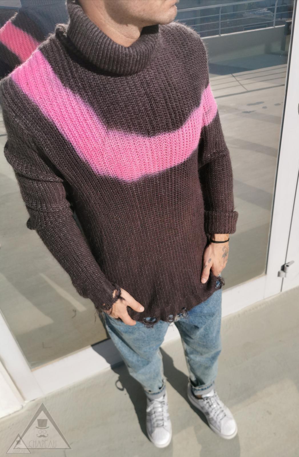 Maglione Tie dye collo alto Fuxia