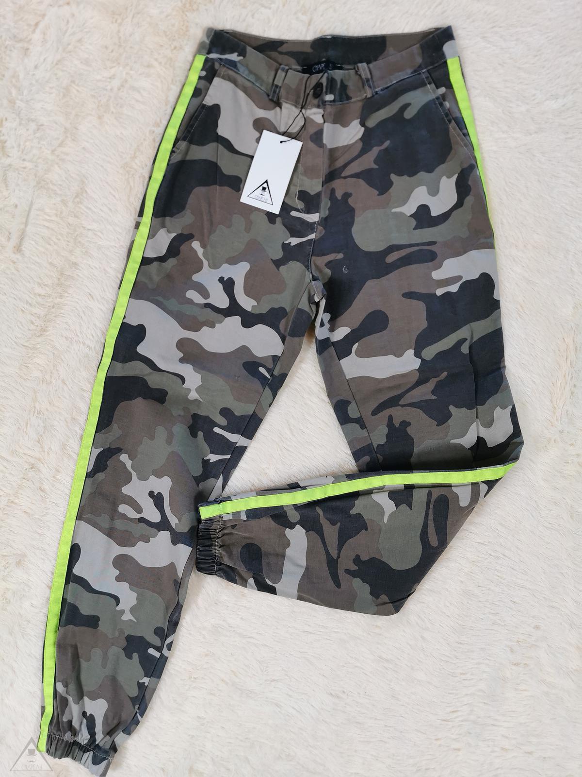 Pantalone Camouflage banda fluo