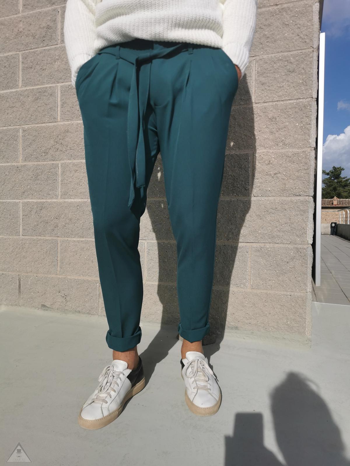 Pantalone Laccio Verde Petrolio