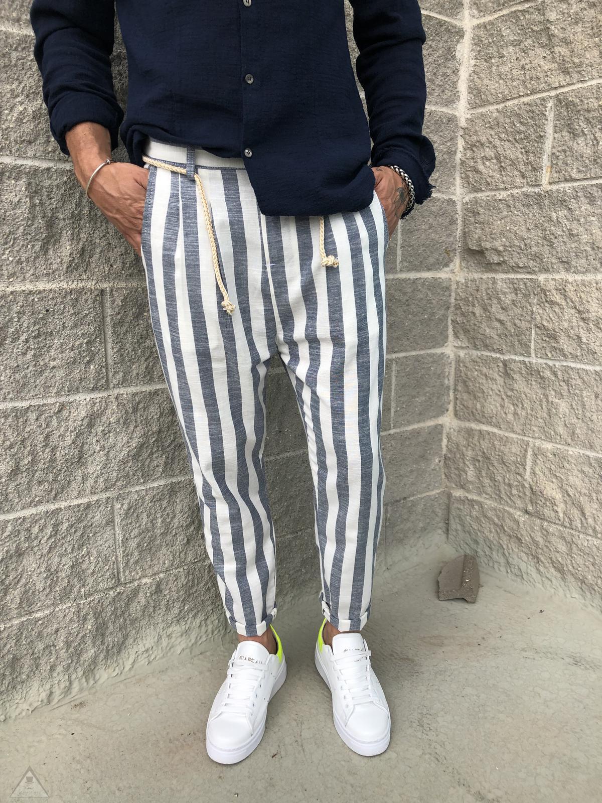 Pantalone Lino Cobalto