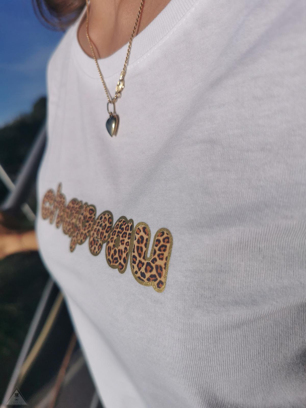 T-Shirt Bianca Leopardo