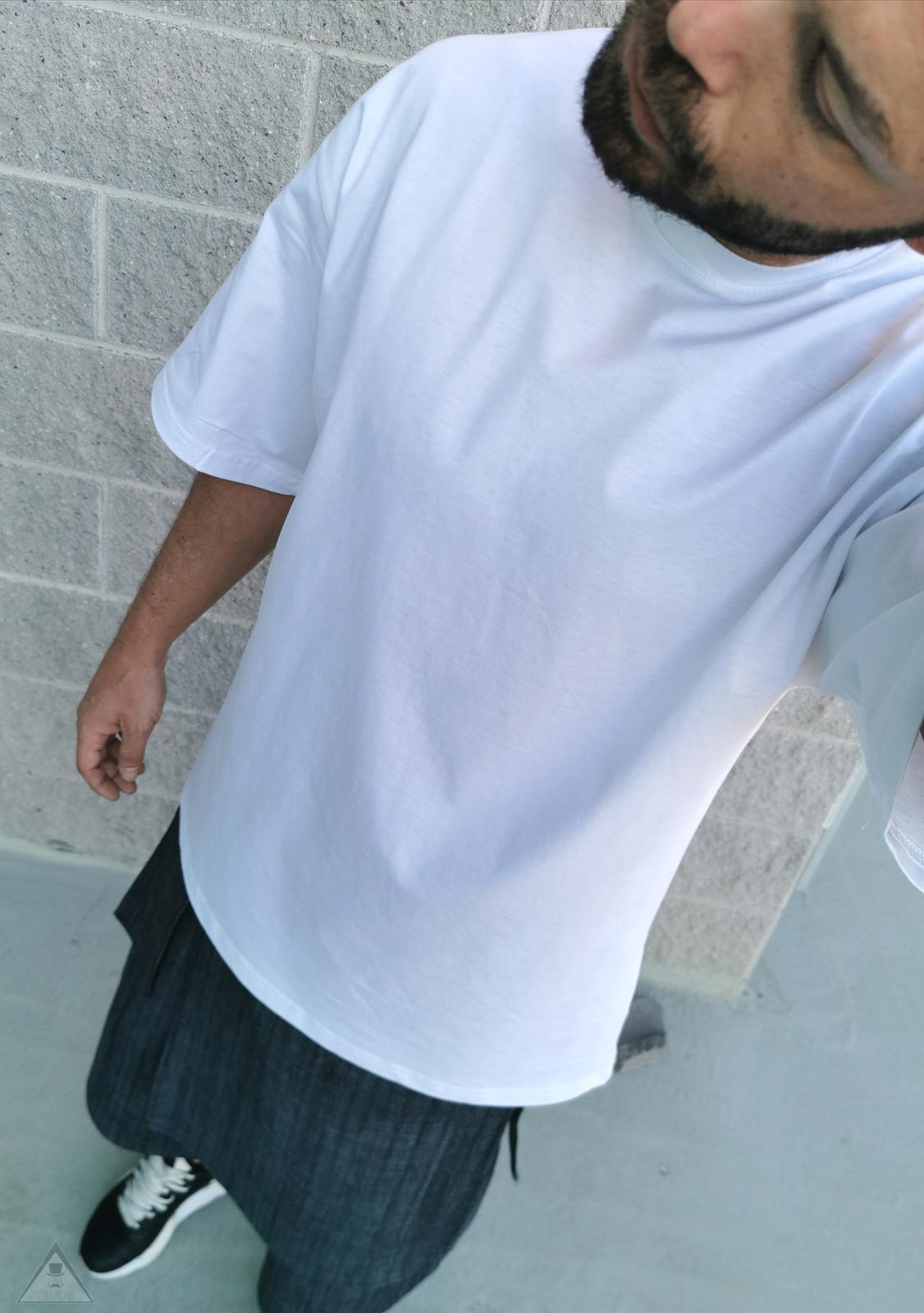 T-shirt over white